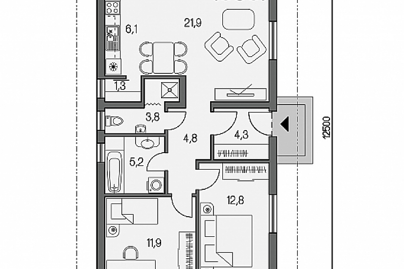 Projekt bungalovu Laguna 9 obr.595