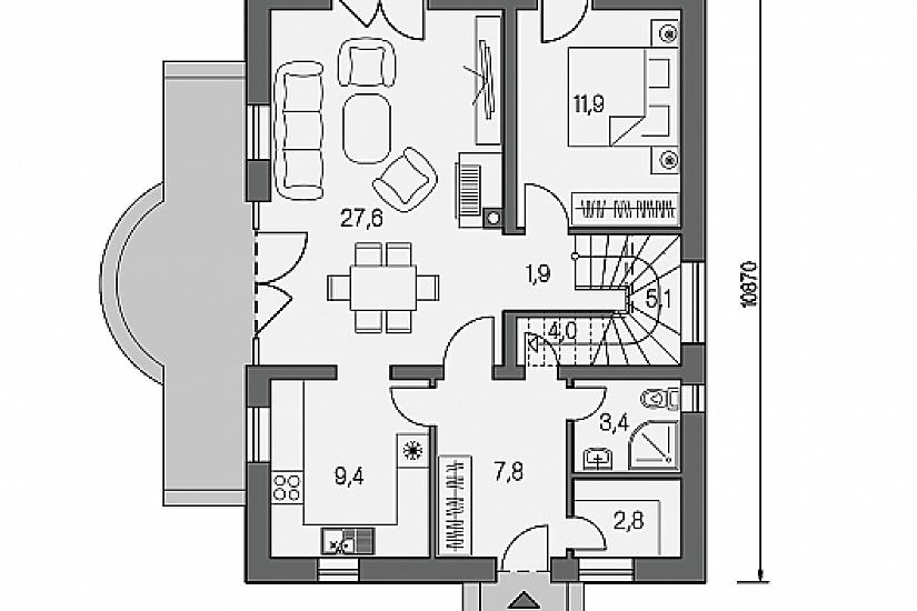 Projekt rodinného domu Pohoda 170 obr.590