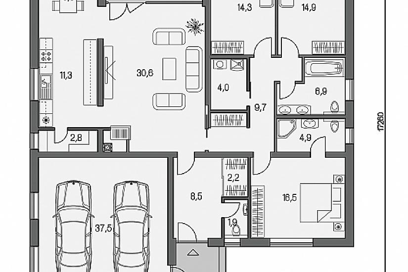 Projekt bungalovu Linear 318 obr.594