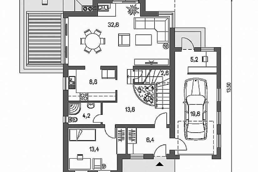 Projekt rodinného domu Linear 305 obr.759
