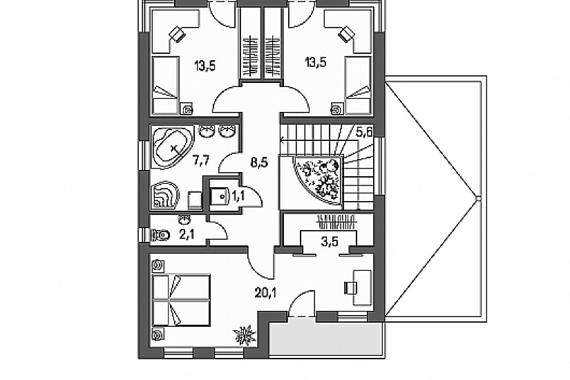 Projekt rodinného domu Linear 305 obr.760