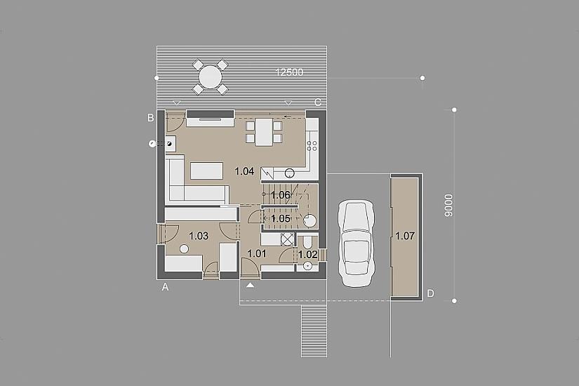 Projekt rodinného domu Cube obr.886