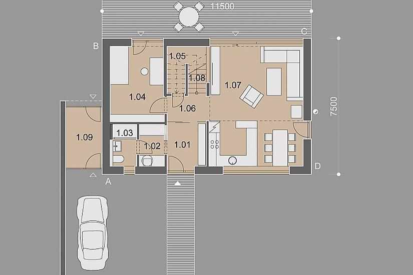 Projekt rodinného domu Decent obr.878