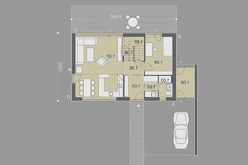 Projekt rodinného domu Bright obr.872
