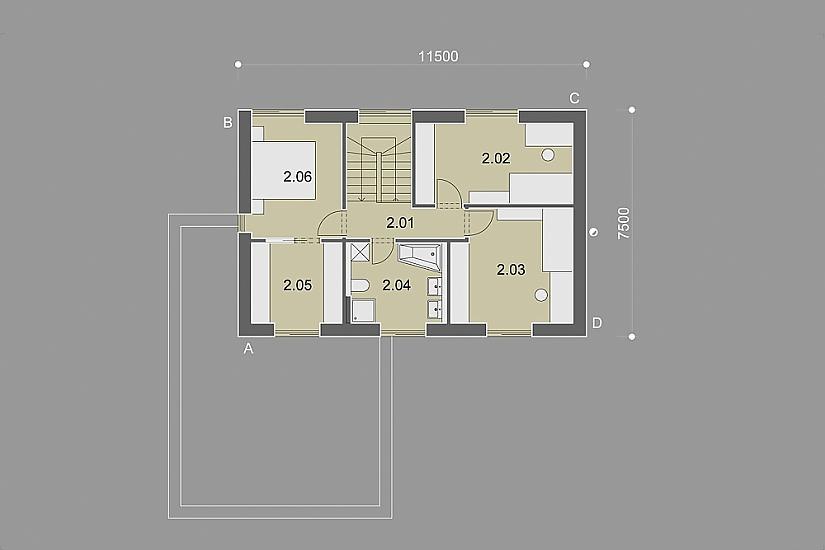 Projekt rodinného domu Bright obr.873