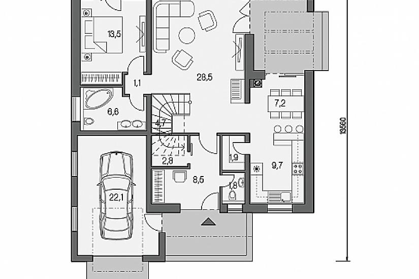 Projekt rodinného domu Linear 327 obr.756