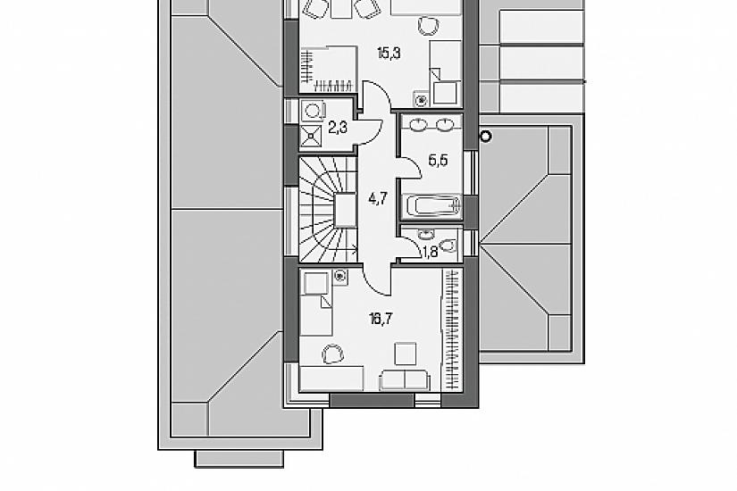 Projekt rodinného domu Linear 327 obr.757