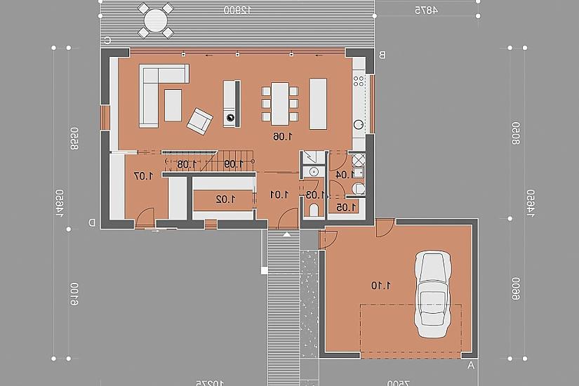 Projekt rodinného domu Glossy obr.851