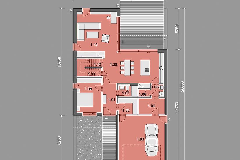 Projekt rodinného domu Zigzag obr.853