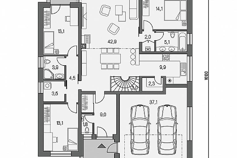 Projekt rodinného domu Linear 331 obr.619