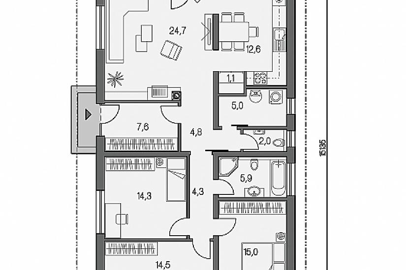 Projekt bungalovu Laguna 422 obr.647